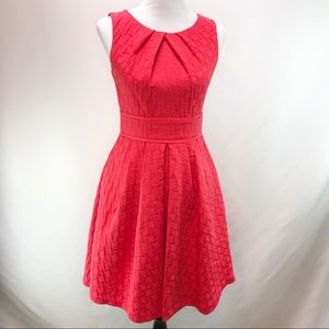 Eliza J Bright Coral Red Fit Flare Dress Size 4